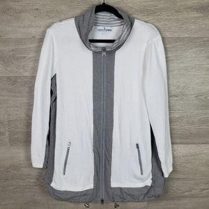 Neon Buddha Sweater White and Gray with full Zip